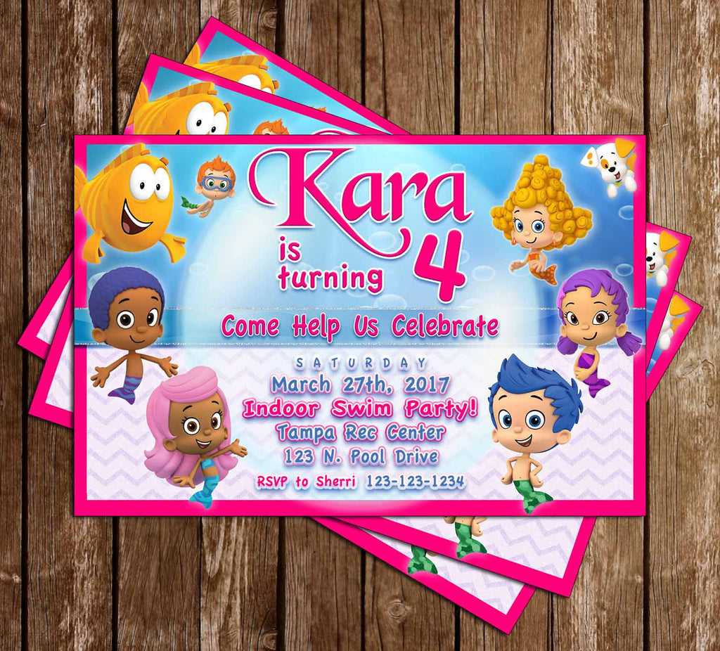 Bubble Guppies - Nick JR - Pink Girls - Birthday Invitation