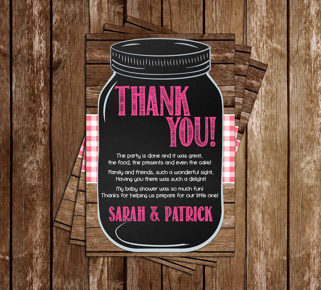 BBQ - Baby-Q - Baby Girl - Baby Shower - Thank You Card