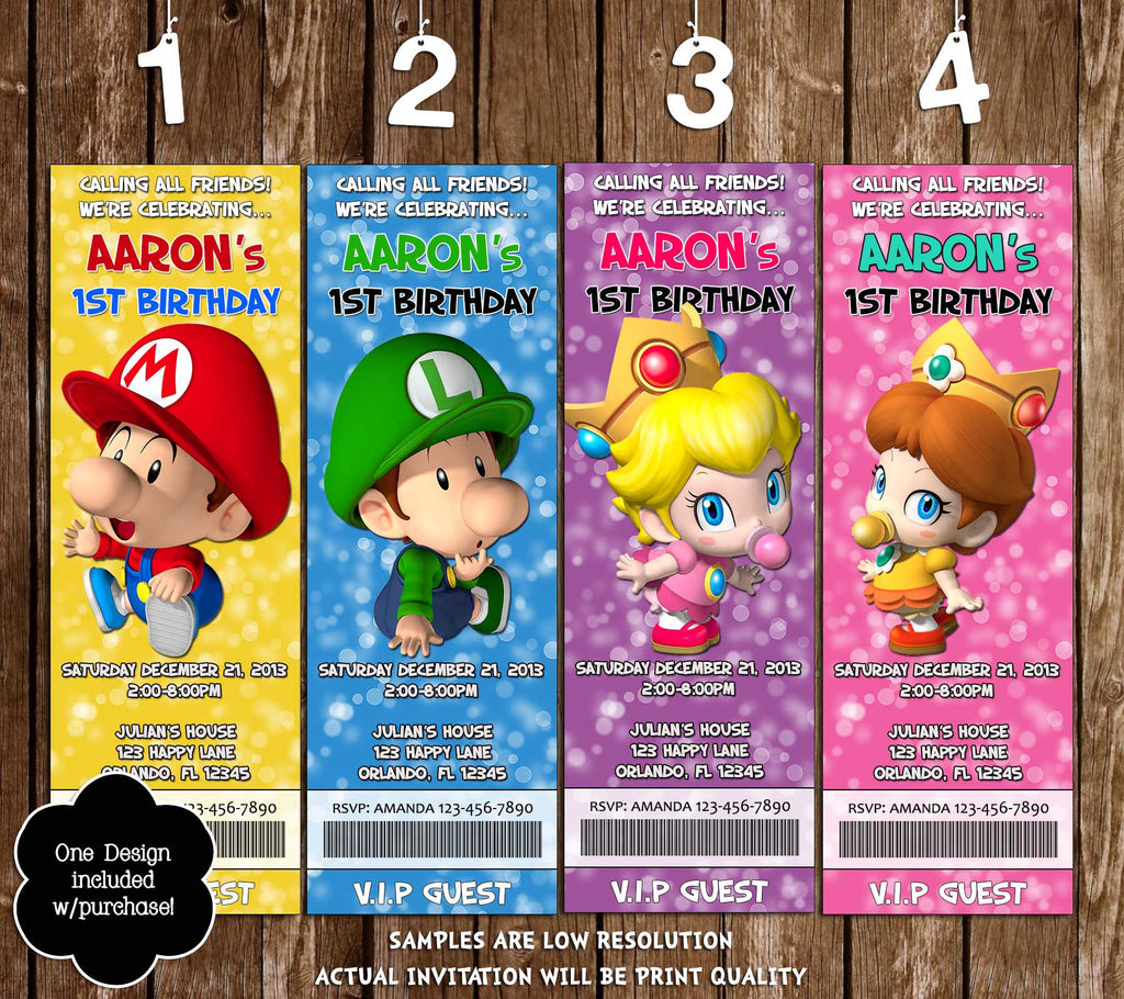 Novel Concept Designs - Baby Super Mario Bros Ticket Birthday Party ...