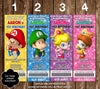 Baby Super Mario Bros Ticket Video Game Birthday Party Invitation