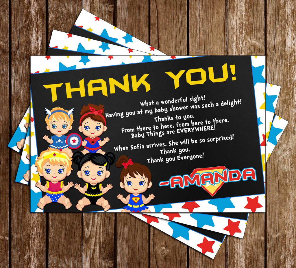 Baby Marvel - Girl - Baby Shower - Thank You Card