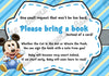 Baby Mickey Mouse - Baby Boy - Baby Shower - Bring a Book Insert