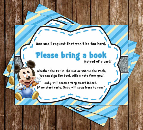 Baby Mickey Mouse   Baby Boy   Baby Shower   Bring A Book Insert