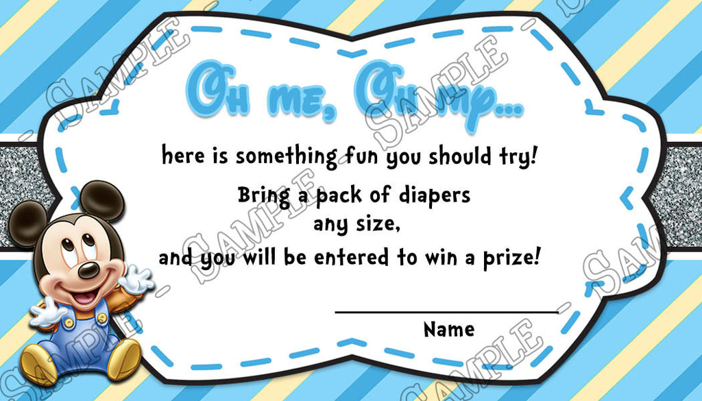 Baby Mickey Mouse   Baby Boy   Baby Shower   Diaper Raffle Tickets