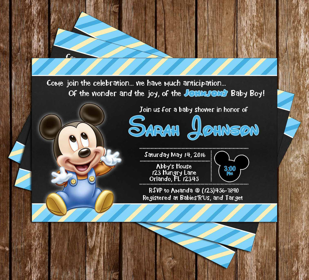 Mickey Mouse   Baby Boy   Baby Shower Invitation