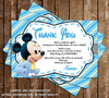 Baby Mickey Mouse - Baby Boy - Baby Shower - Thank You Card
