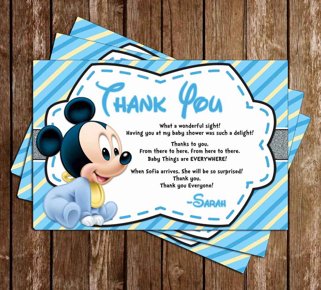 Mickey Mouse - Baby Boy - Baby Shower - Thank You Card