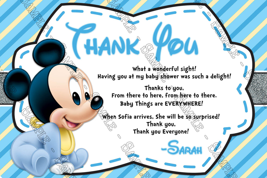 Mickey Mouse   Baby Boy   Baby Shower   Thank You Card