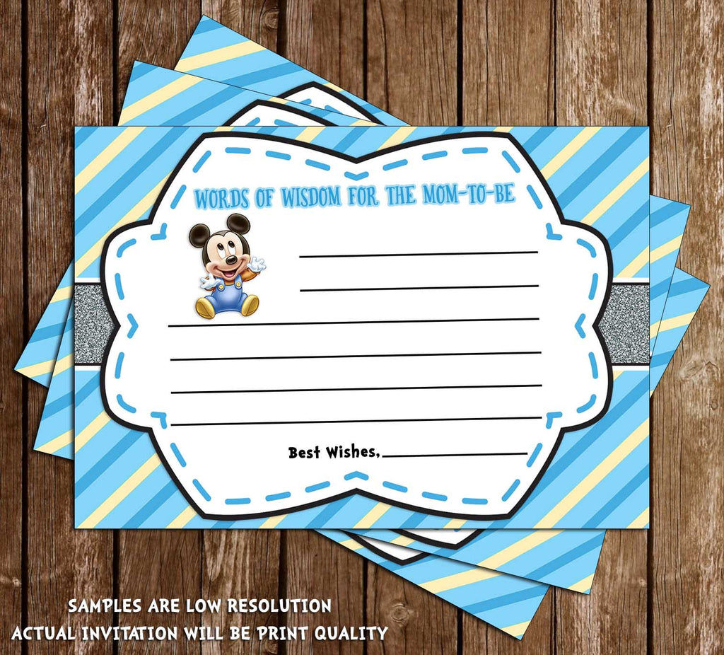 Novel Concept Designs - Mickey Mouse - Baby Boy - Baby Shower Invitation