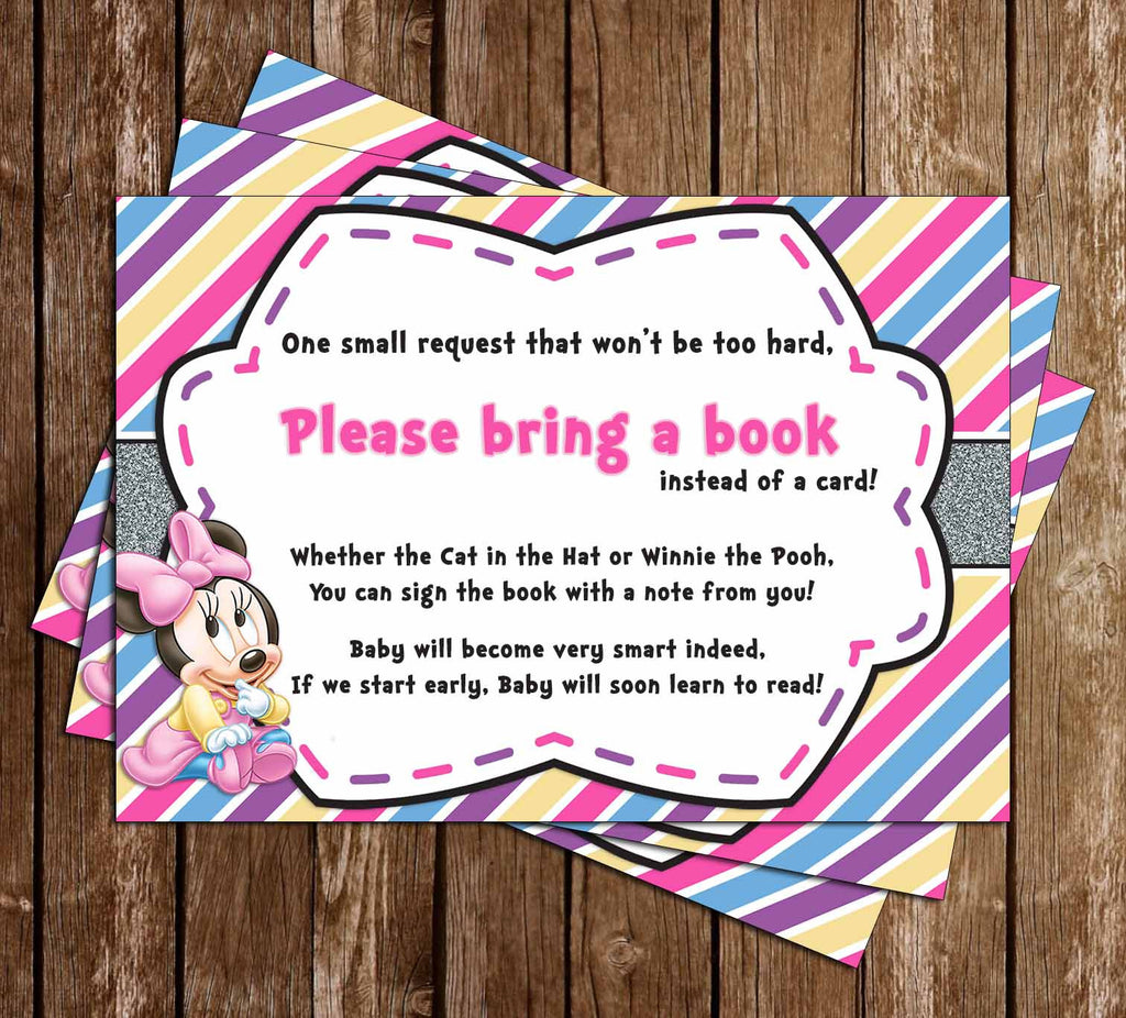 Baby Minnie Mouse - Baby Girl - Baby Shower - Bring a Book Insert