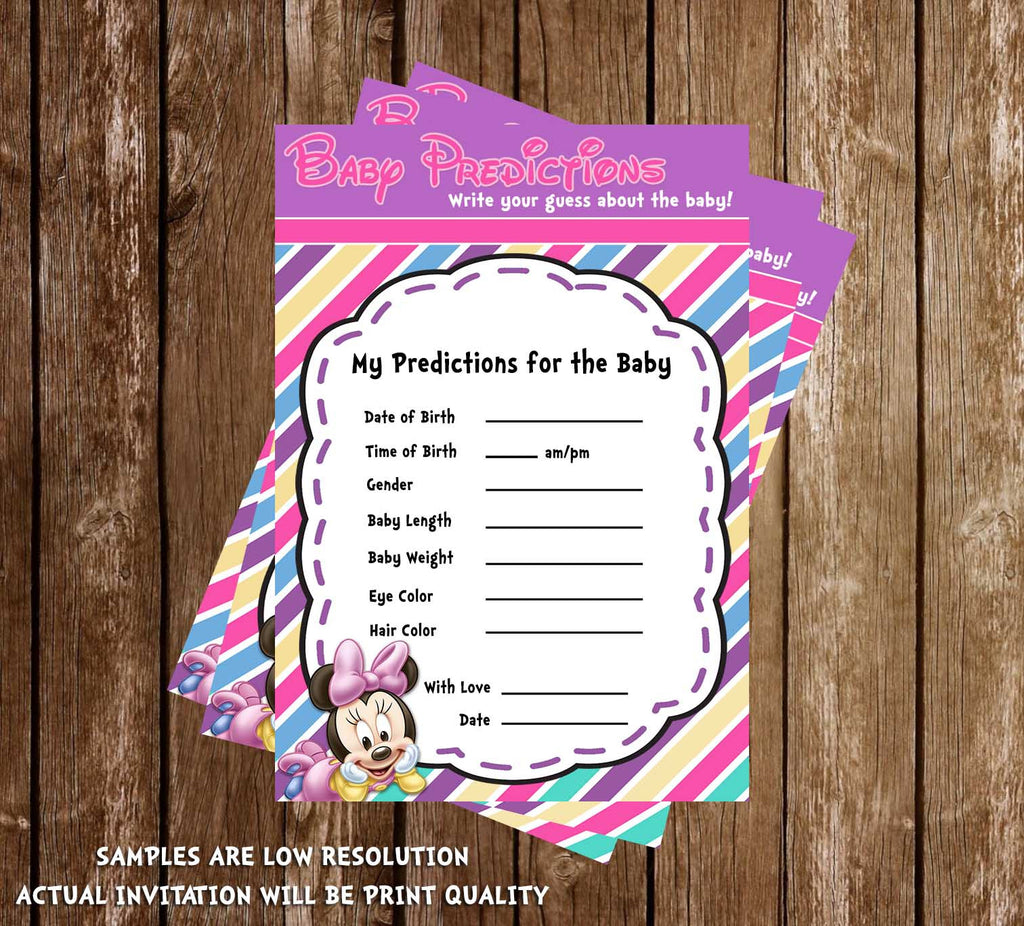 minnie mouse baby girl baby shower thank you card