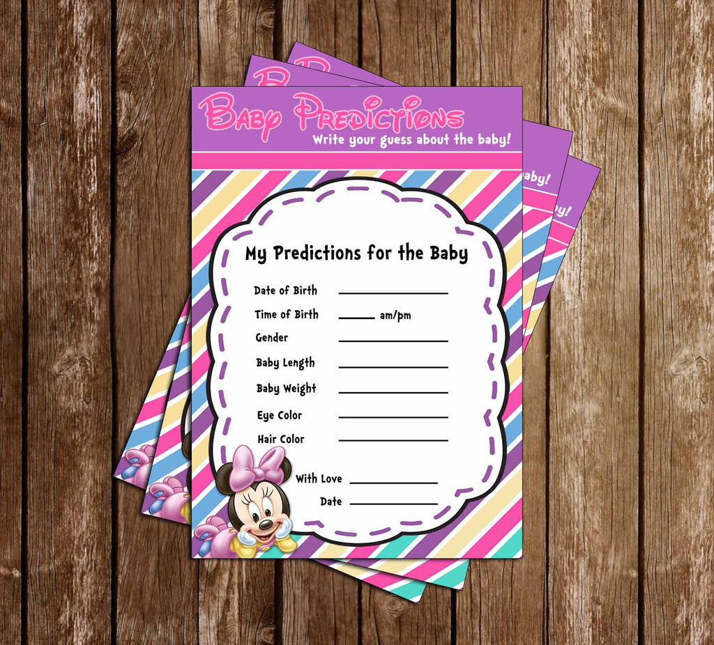 Baby Minnie Mouse   Baby Girl   Baby Shower   Baby Predictions Card