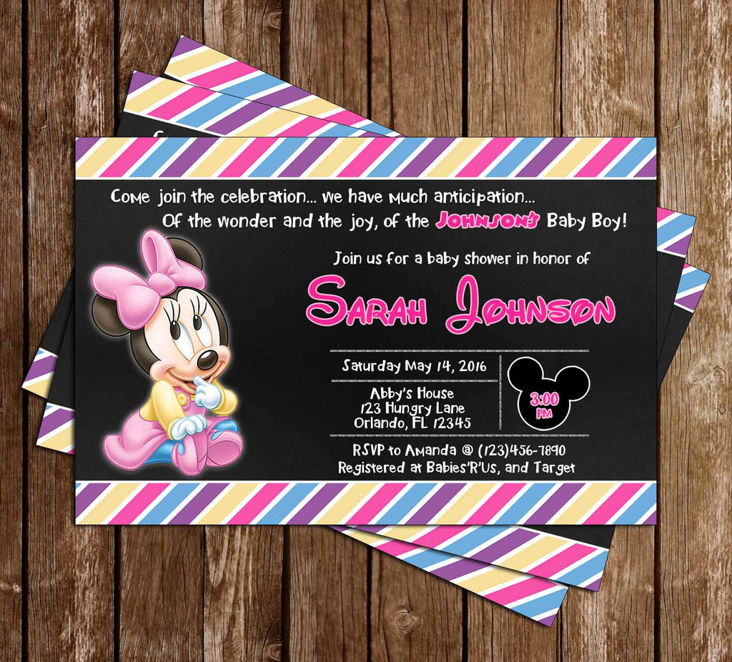 Baby Minnie Mouse   Baby Girl   Baby Shower Invitation