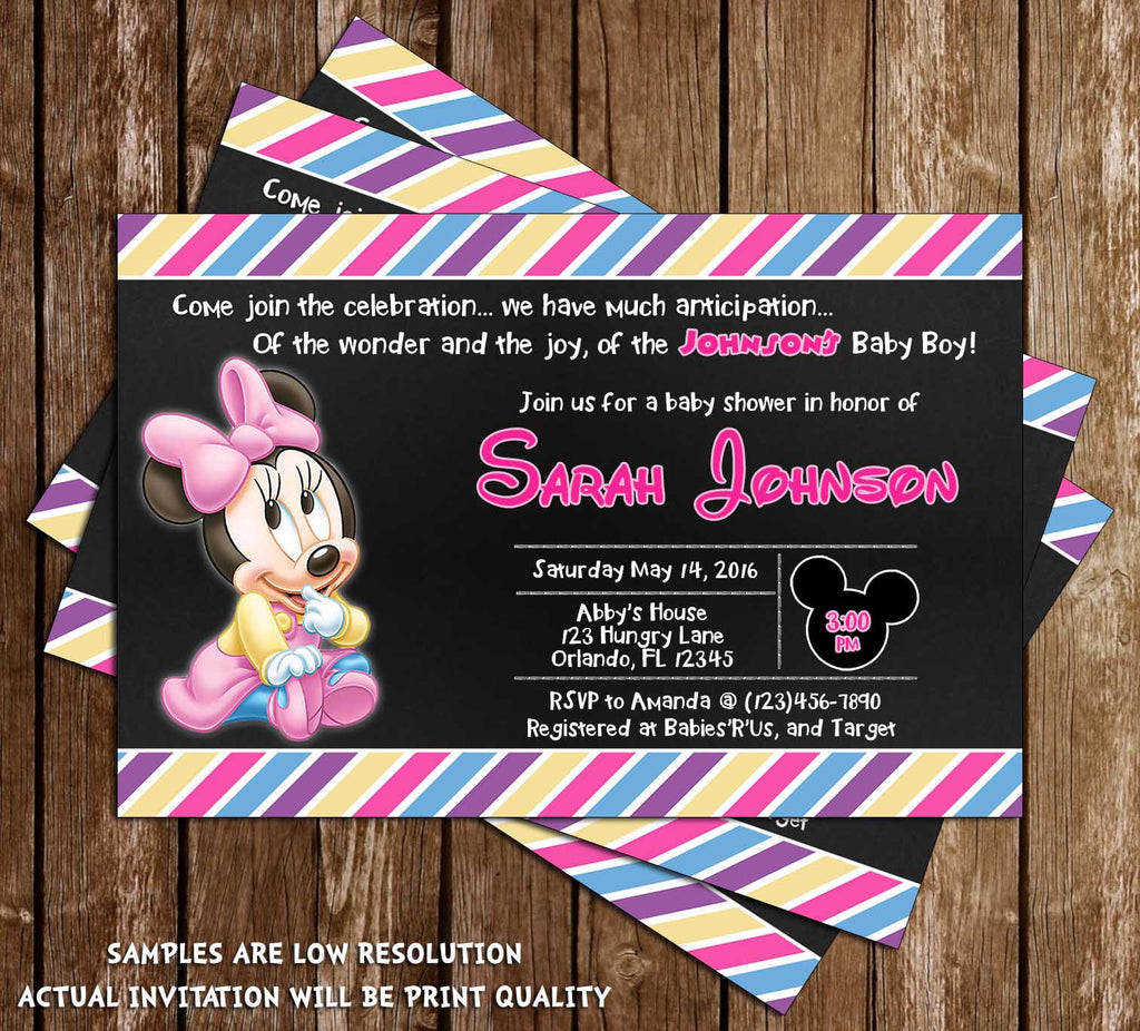 Minnie Mouse   Baby Girl   Baby Shower Invitation