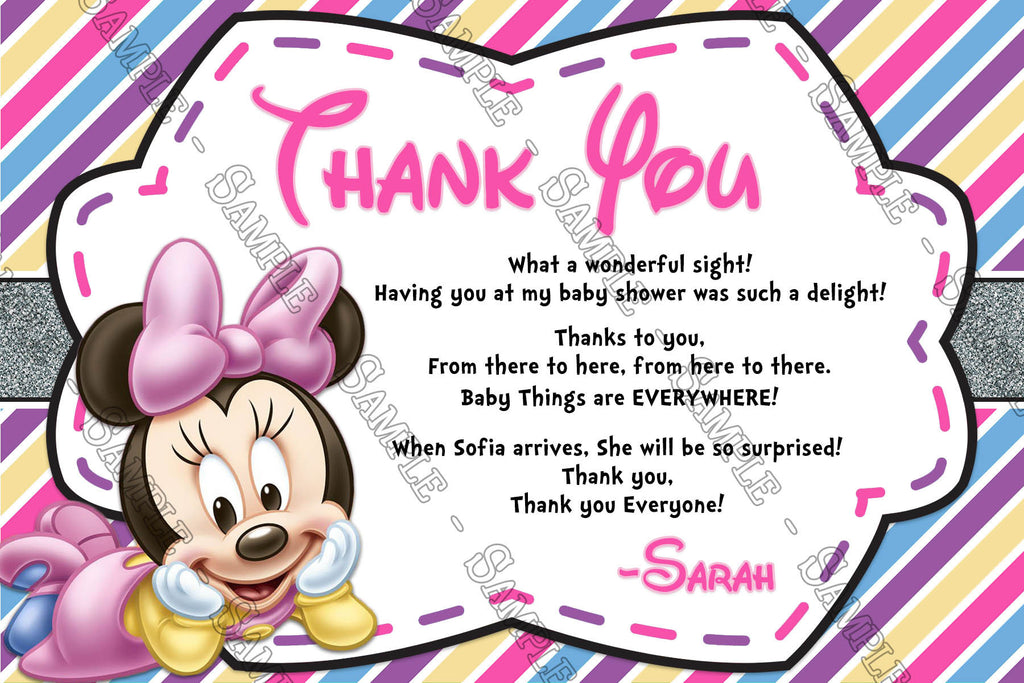 Baby Minnie Mouse   Baby Girl   Baby Shower   Thank You Card