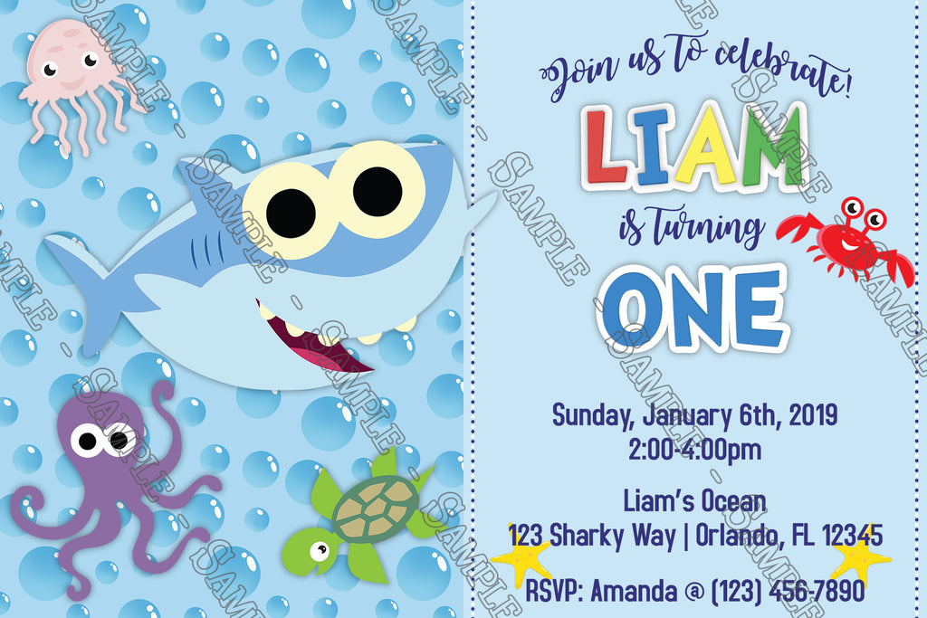 Baby Shark Blue Birthday Party Invitation