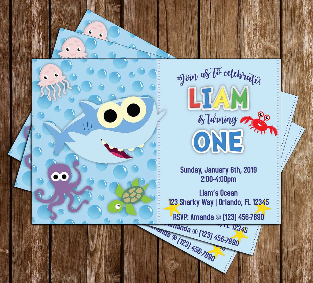 Baby Shark - Blue - Birthday Party - Invitation