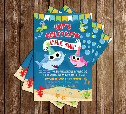 Baby Shark - Girl Shark - Birthday Party - Invitation