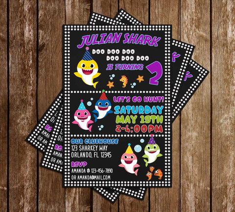 Baby Shark - Doo Doo Doo - Birthday Party - Invitation