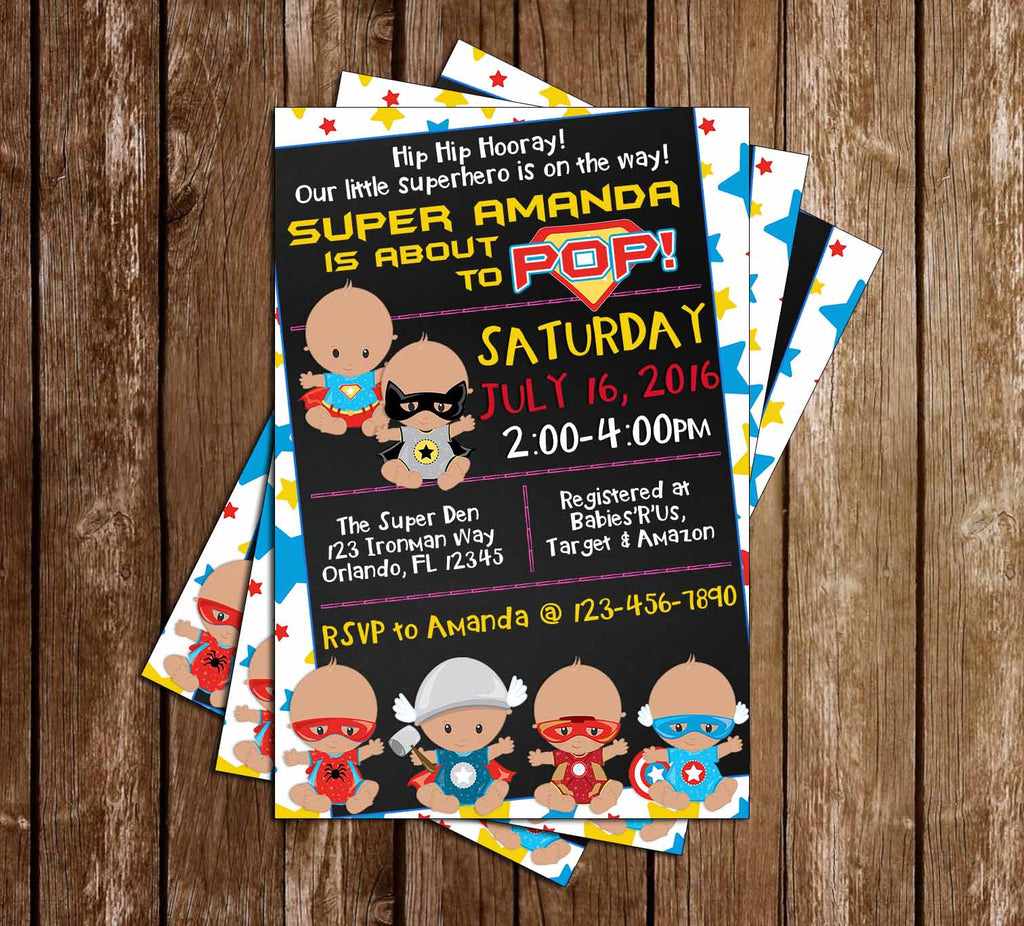 Baby Marvel - Superheroes - Comic Book - Baby Shower - Invitation