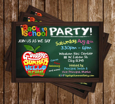 Back to School - Green Chalkboard - Birthday Party - Invitation