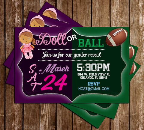 Ball or Doll - Gender Reveal Baby Shower - Invitation