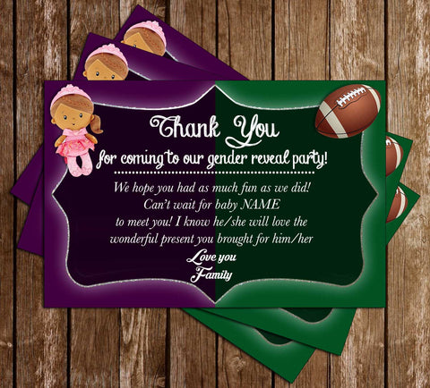 Ball or Doll - Gender Reveal - Baby Shower - Thank You Card