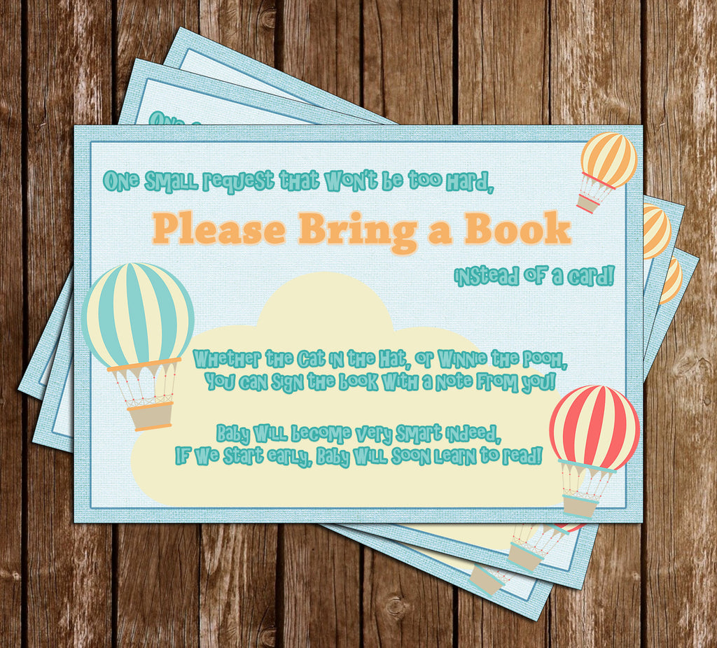 Up, Up and Away - Hot Air Balloon - Traveler - Baby Shower - Bring a Book Insert