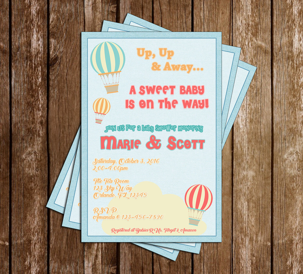Little  Traveler - Up, Up and Away - Hot Air Balloon - Baby Shower - Invitation