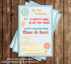 Up, Up and Away - Hot Air Balloon - Traveler - Baby Shower - Invitation