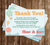 Little  Traveler - Up, Up and Away - Hot Air Balloon - Baby Shower - Thank You Card