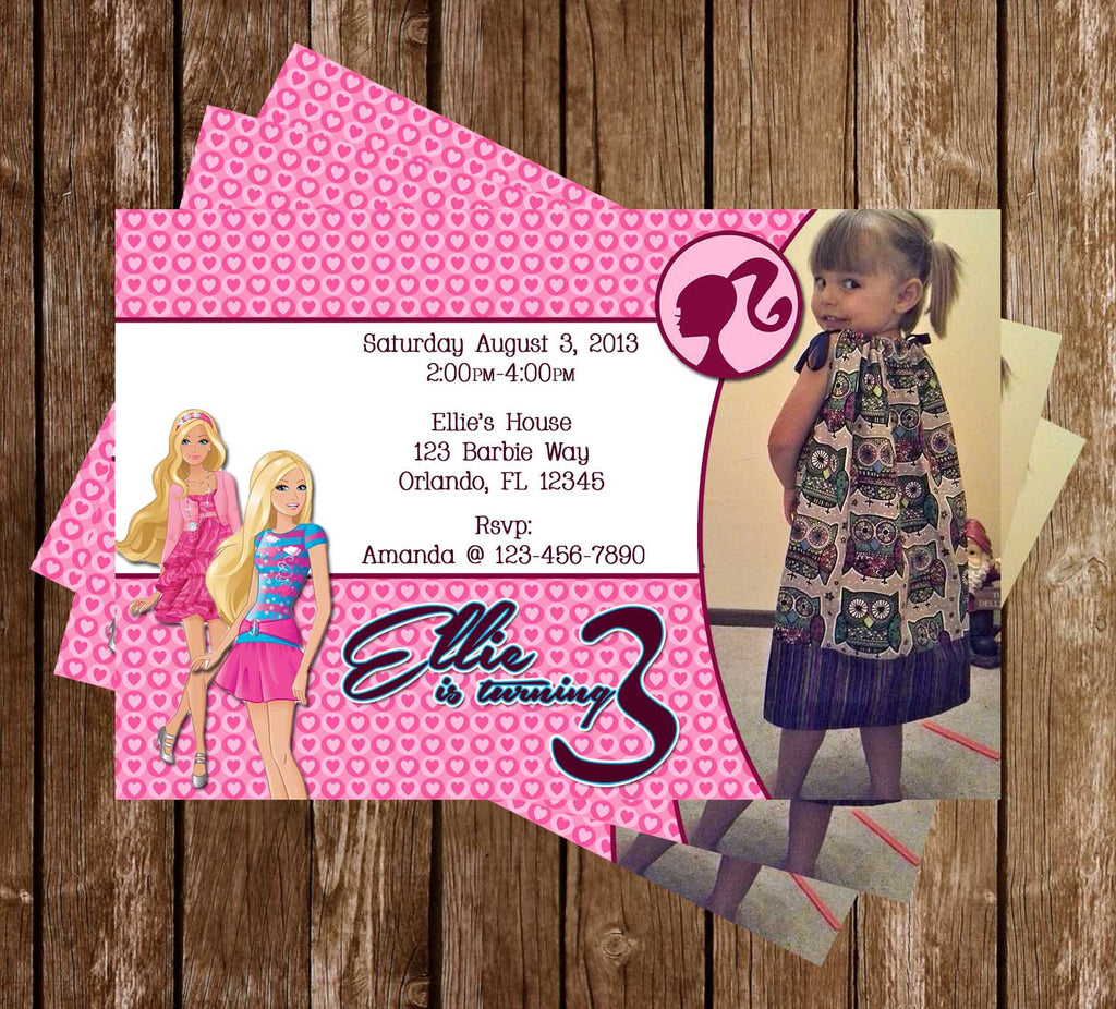 Barbie Doll Birthday Party Invitation Printable with Photo