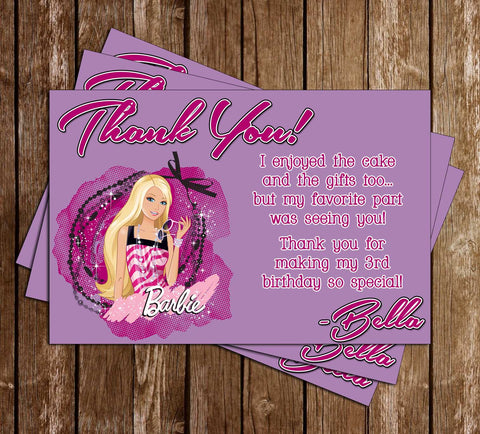 Barbie Birthday Party Thank You Card Printable