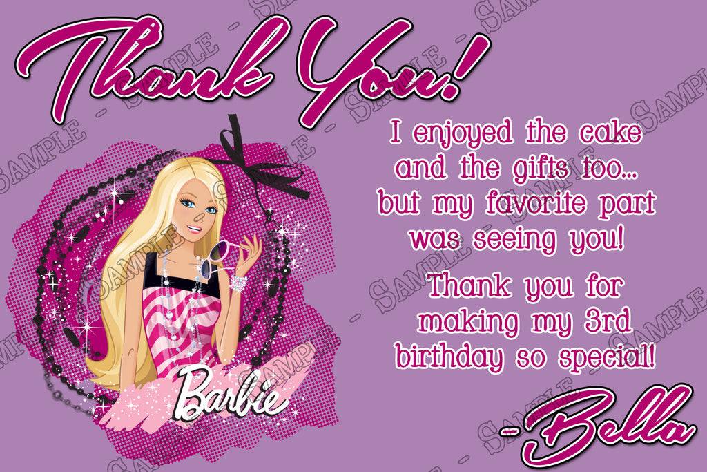 Novel Concept Designs Barbie Birthday Party Thank You Card Printable – Printable Birthday Thank You Cards