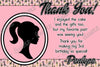 Vintage Barbie Doll Birthday Thank You Card Printable