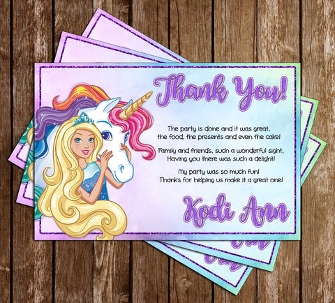 Barbie - Dreamtopia - Birthday Party Thank You Card
