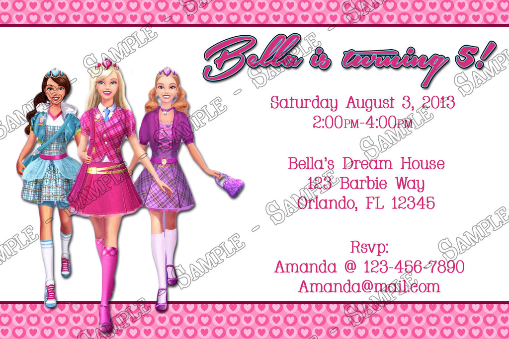 Novel Concept Designs - Barbie Birthday Party Invitation Printable