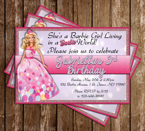 Barbie Dolls - Glitter - Birthday Party - Invitation
