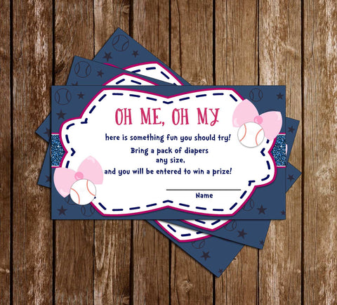 Baseball or Bows - Gender Reveal - Baby Shower - Diaper Raffle Ticket