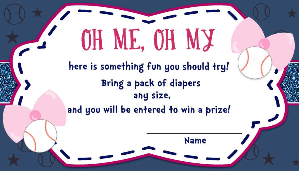 Baseball or Bows - Gender Reveal - Baby Shower Diaper Raffle Tickets