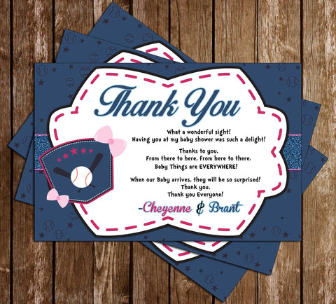 Baseball or Bows - Gender Reveal - Baby Shower - Thank You Card