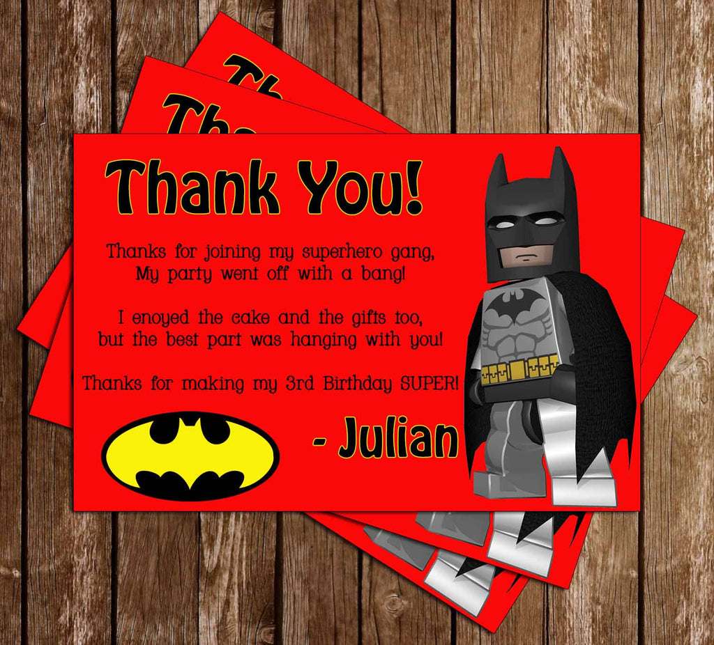 Lego Batman Video Game Birthday Thank You Card (Red)