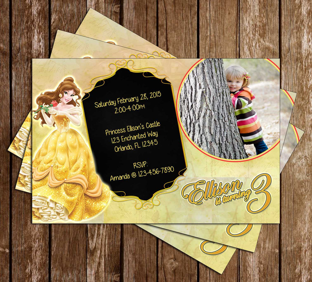 Disney Beauty and the Beast - Princess Belle - Birthday Invitation