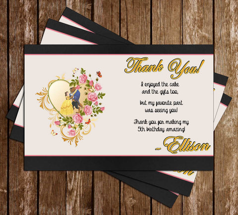 Disney Beauty and the Beast - Princess Belle - Movie Birthday Thank You Card