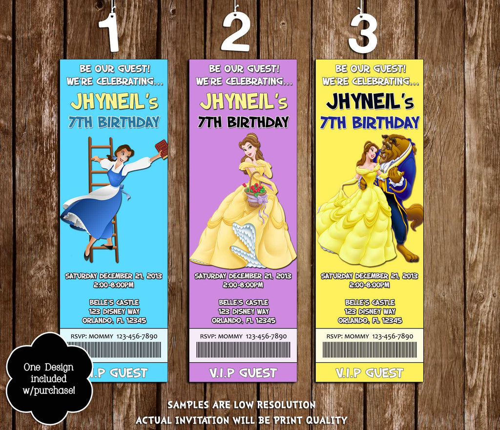 Novel concept designs disney beauty and the beast princess belle disney beauty and the beast princess belle movie birthday ticket invitation filmwisefo Choice Image