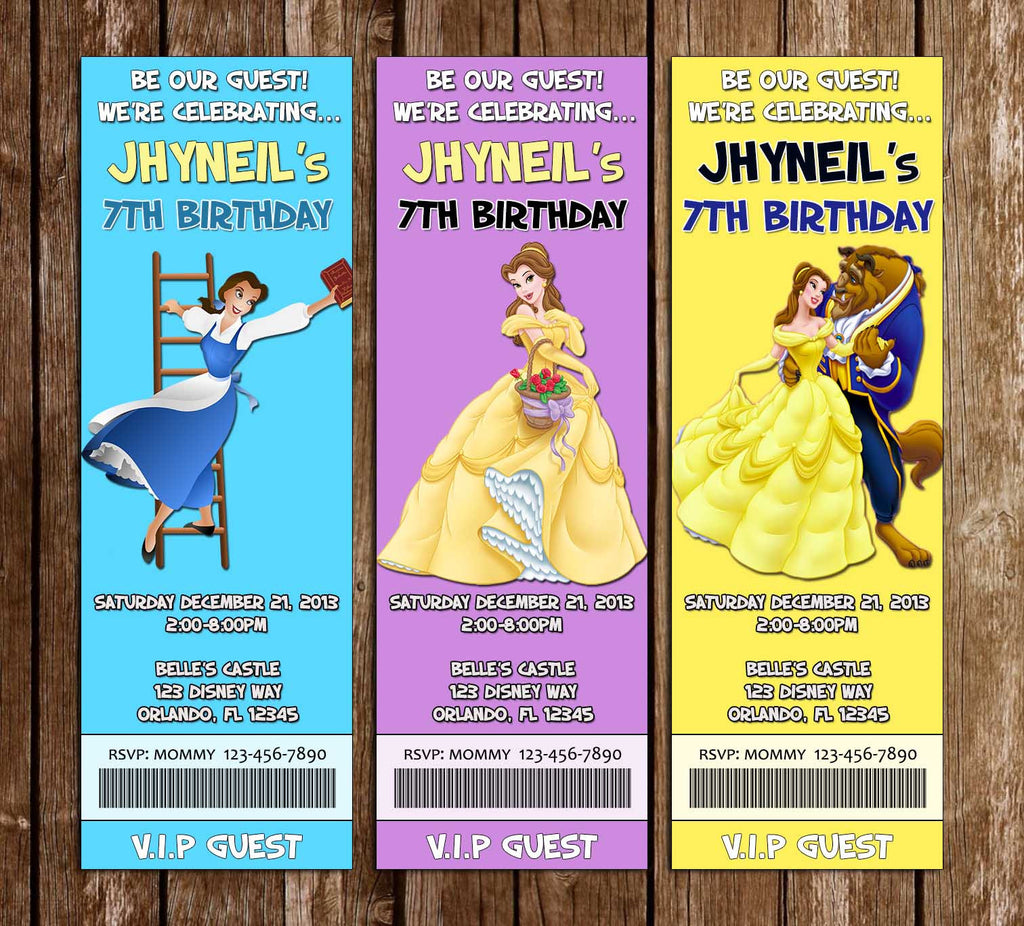 Novel concept designs disney beauty and the beast princess belle disney beauty and the beast princess belle birthday party ticket invitation filmwisefo