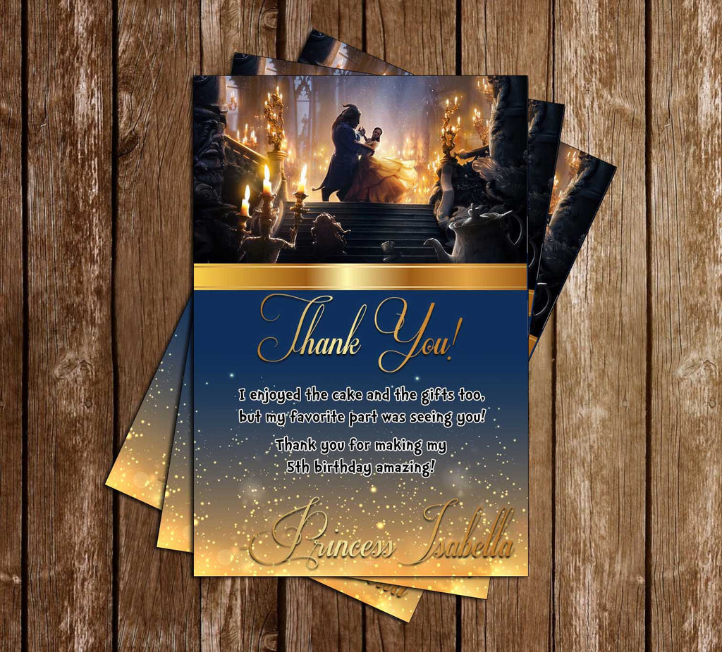 Beauty and the Beast - Movie - Birthday Party - Thank You Card