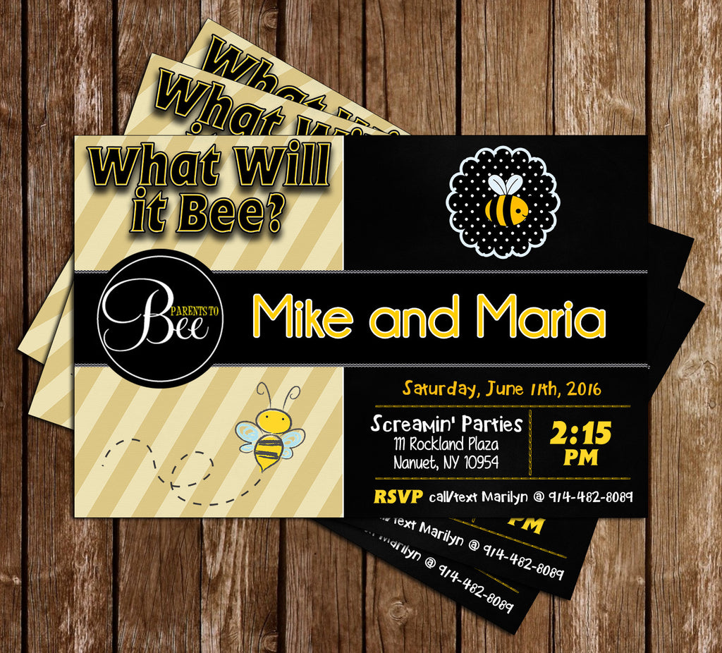 What Will it Bee - Gender Reveal - Baby Shower - Invitation