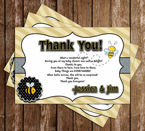 What Will it Bee - Gender Reveal - Baby Shower -Thank You Card