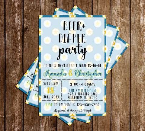 Beer + Diaper - Boy - Baby - Shower - Invitation